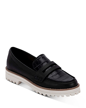Women's Aubree Almond Toe Embossed Leather Loafers