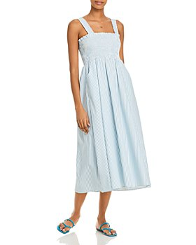 AQUA - Striped Smocked Midi Dress - 100% Exclusive