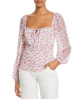 AQUA - Ditsy Floral Long Sleeve Top - 100% Exclusive