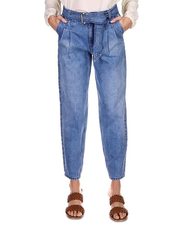 MICHAEL Michael Kors - Pleated Belted Denim Pants in Vintage Denim Wash