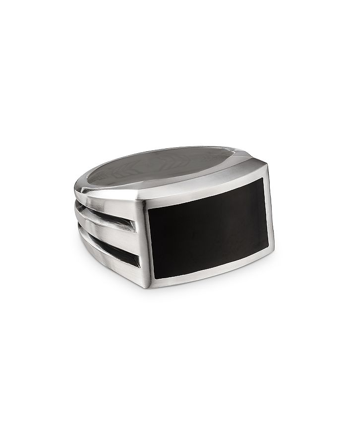 David Yurman - Sterling Silver Beveled Signet Ring with Black Onyx