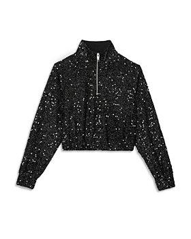 The Kooples - Sequined Half Zip Crop Sweatshirt