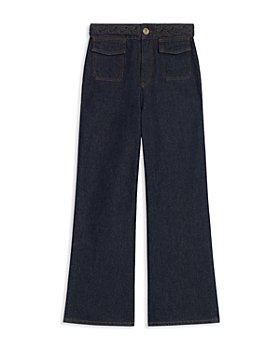 Sandro - Braided Waist Wide Leg Jeans in Bleu Denim