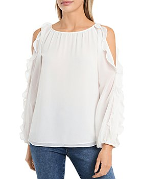 1.STATE - Cold Shoulder Ruffle Sleeve Blouse