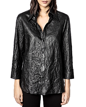 Zadig & Voltaire CRINKLED LEATHER SHIRT