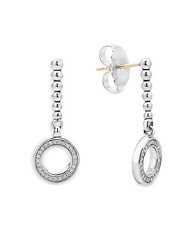 LAGOS - Sterling Silver Caviar Spark Diamond Circle Drop Earrings