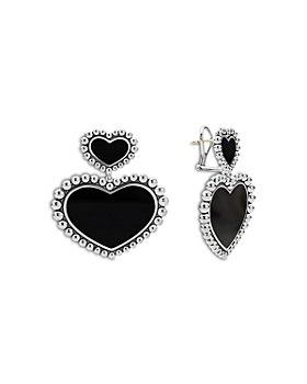 LAGOS - Sterling Silver Maya Onyx Inlay Heart Drop Earrings