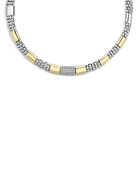 "LAGOS - Sterling Silver & 18K Gold High Bar Diamond Necklace, 16"" - 100% Exclusive"