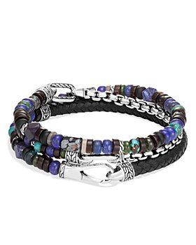 JOHN HARDY - Sterling Silver Classic Chain Leather Wrap Bracelet with Multi-Gemstone Beads