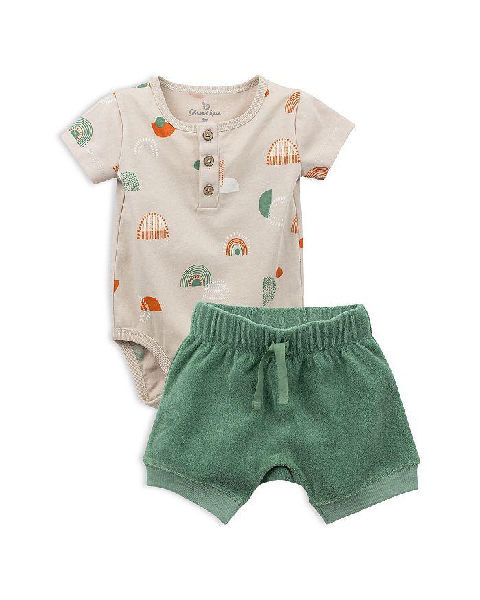 Oliver & Rain - Boys' Rainbow Bodysuit & Terry Shorts Set - Baby