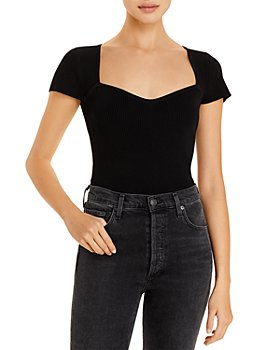 Lucy Paris - Sweetheart Short Sleeve Ribbed Top