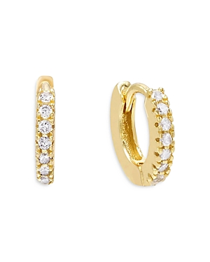 Adinas Jewels Earrings PAVE MINI HUGGIE HOOP EARRINGS IN GOLD TONE STERLING SILVER
