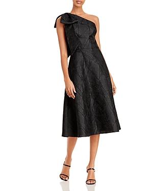 One Shoulder Jacquard Cocktail Dress