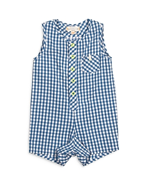 Egg New York Boys' Gingham Romper - Baby In Blue