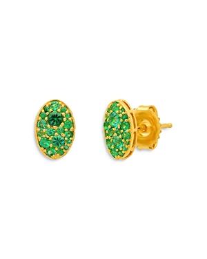18K Yellow Gold Les Chevalieres Green Tsavorite Oval Cluster Stud Earrings