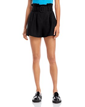 AQUA - Belted Paper Bag Waist Shorts - 100% Exclusive