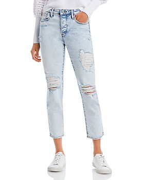 AQUA - Straight Destroyed Ankle Jeans in Light Wash - 100% Exclusive