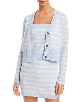 AQUA - Gingham Stripe Cropped Cardigan - 100% Exclusive