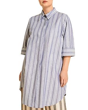 Marina Rinaldi Fermezza Striped Loose Fit Button Down Shirt