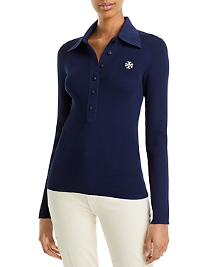 Tory Burch RIBBED LONG SLEEVE POLO