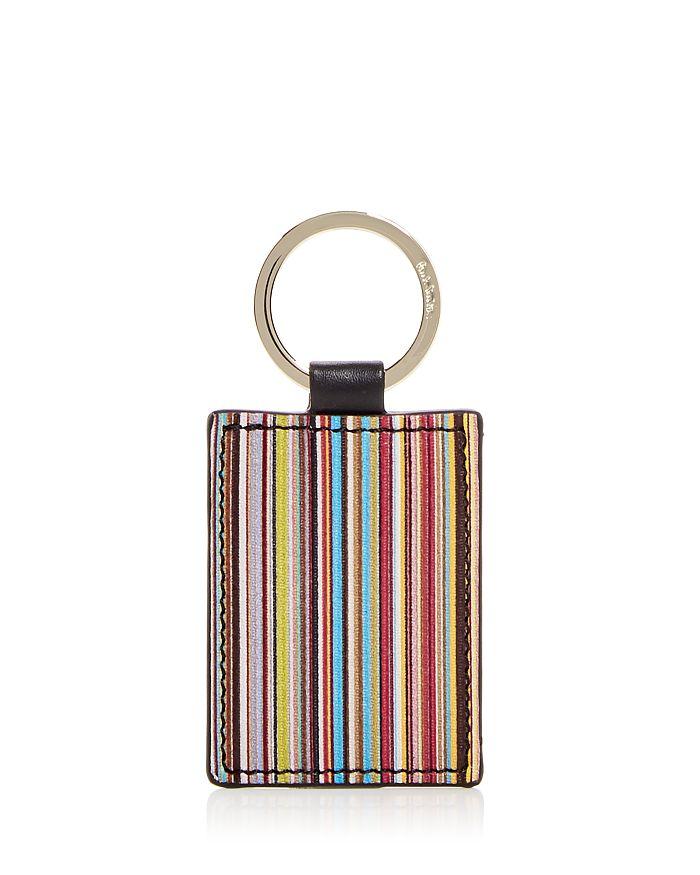 Paul Smith Signature Stripe Leather Key Ring In Multi