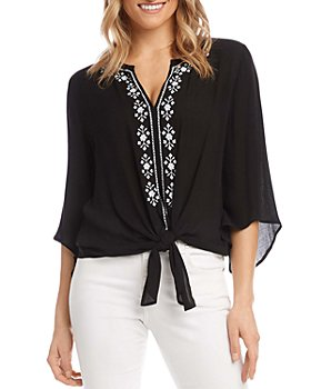 Karen Kane - Embroidered Tie Hem Top