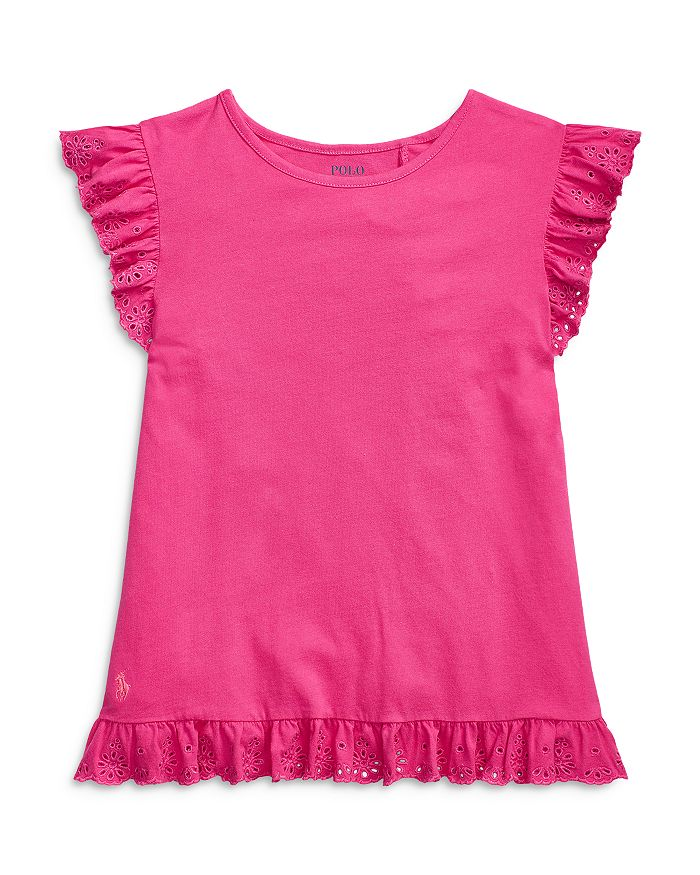 Ralph Lauren POLO RALPH LAUREN GIRLS' LACE RUFFLE TOP - LITTLE KID