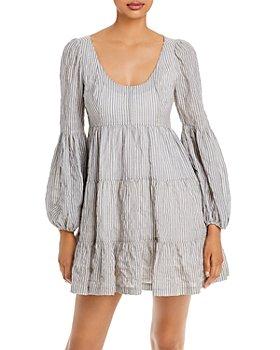Cinq à Sept - Rose Striped Tiered Mini Dress