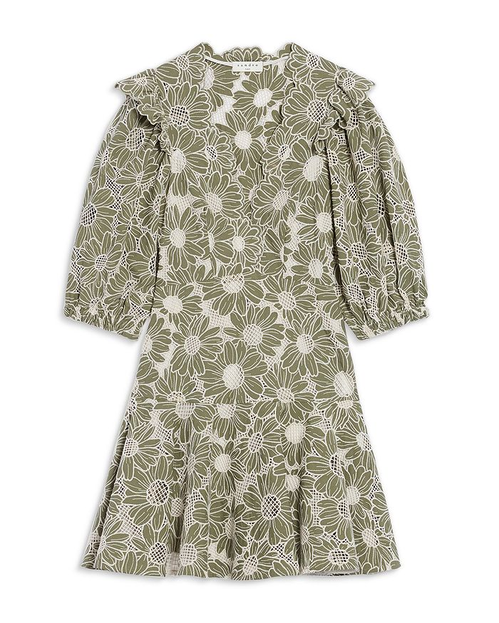 Sandro - Audrey Embroidered Cotton Lace Dress