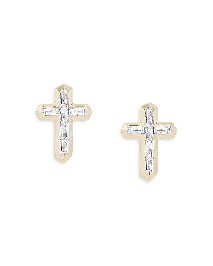 Adina Reyter 14k Yellow Gold Diamond Cross Stud Earrings