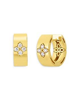 Roberto Coin - 18K Yellow Gold Love In Verona Diamond Hoop Earrings
