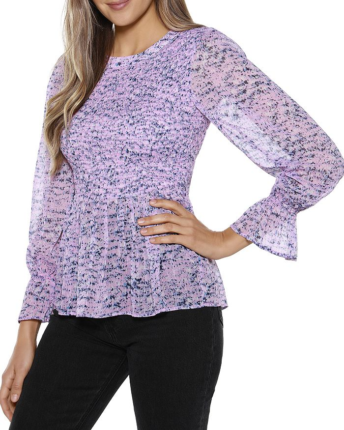 BELLDINI Tops ABSTRACT PRINT PEPLUM TOP
