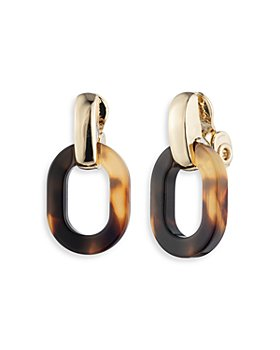 Ralph Lauren - Tortoise Oval Link Clip On Drop Earrings