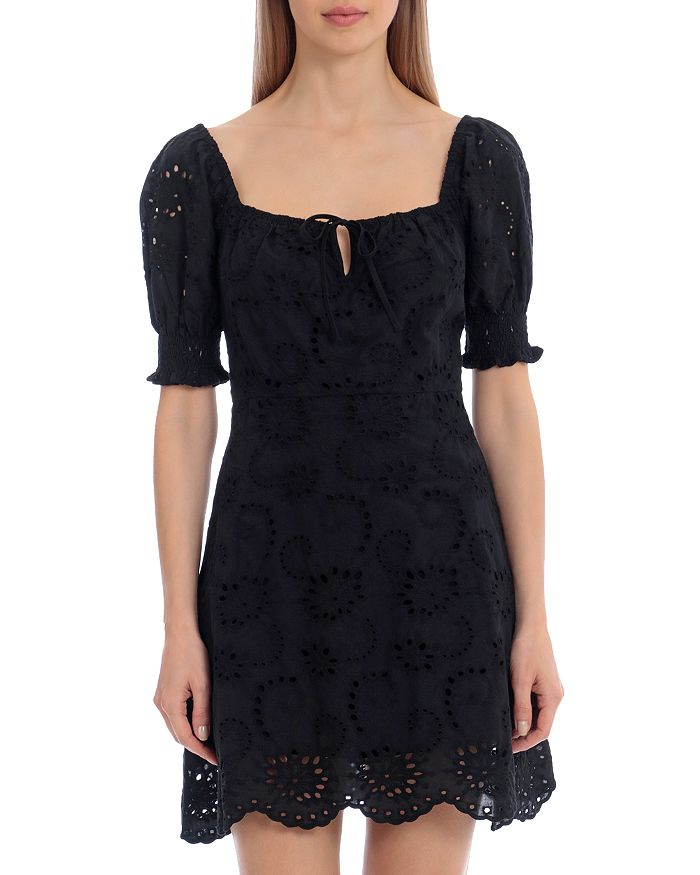 Avec Les Filles Mini dresses EYELET PEASANT DRESS