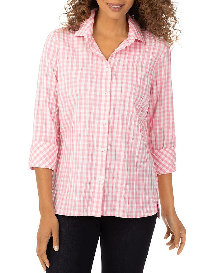 Foxcroft CRINKLE GINGHAM BUTTON DOWN SHIRT