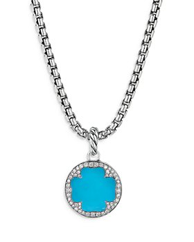 David Yurman - Sterling Silver DY Elements® Clover Disc Pendant with Turquoise & Diamonds