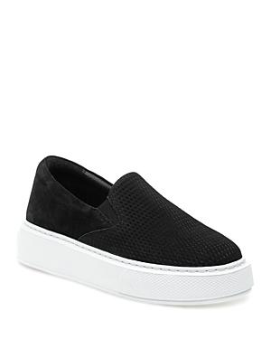 J/Slides Women's Delia Perforated Nubuck Leather Slip On Platform Sneakers