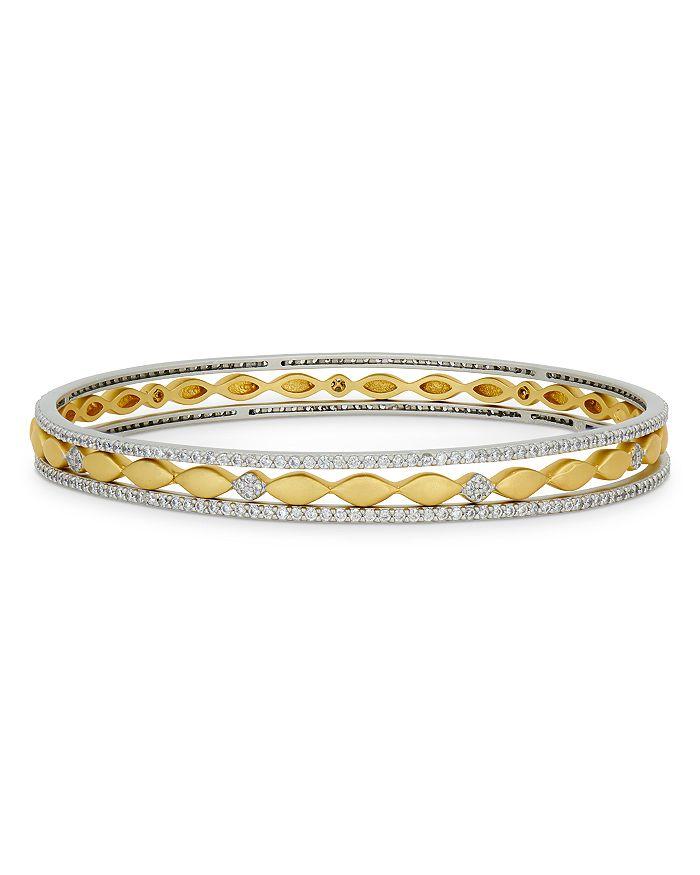 Freida Rothman Bracelets PETALS AND PAVE STACK BANGLE BRACELETS, SET OF 3