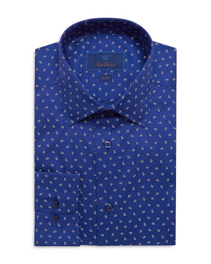 David Donahue Cottons COTTON PAISLEY PRINT TRIM FIT DRESS SHIRT
