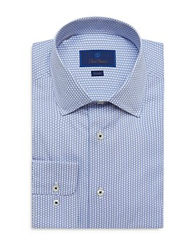 David Donahue - Cotton Geo Print Trim Fit Dress Shirt