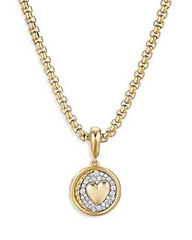 David Yurman - 18K Yellow Gold SY Heart Amulet with Diamonds