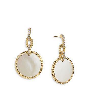 David Yurman - 18K Yellow Gold DY Elements® Drop Earrings with Mother-of-Pearl & Diamonds