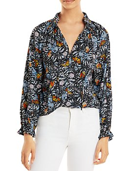 AQUA - Butterfly Print Long Sleeve Top - 100% Exclusive