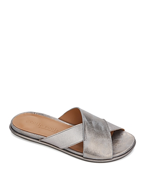 Gentle Souls by Kenneth Cole Women's Lark Crossover Leather & Elastic Slide Sandals