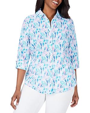 Foxcroft Plus Carmen Cotton Printed Shirt