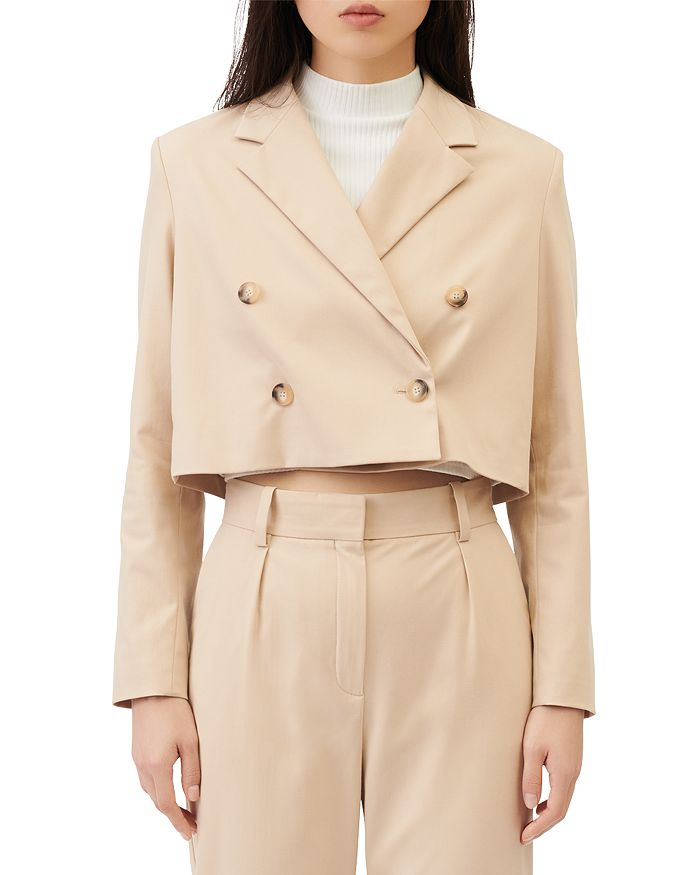 Maje VAKIN DOUBLE BREASTED CROPPED SUIT JACKET