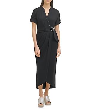 Knit Faux Wrap Dress