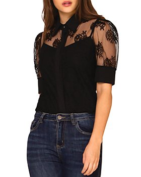 Gracia - Sheer Lace Blouse (43% off) - Comparable value $88