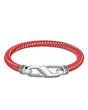 John Hardy Men's Sterling Silver Classic Woven Red Rubber Carabiner Clasp Bracelet
