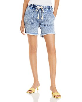 AQUA - Acid Fray Hem Drawstring Jean Shorts in Medium Wash - 100% Exclusive